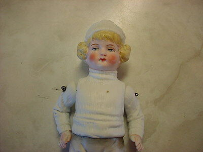 """Cute Vintage 7.5"""" All Bisque Boy Doll W/molded Hat"""