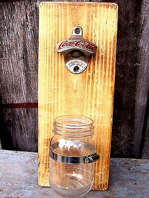 Vintage Coca Cola Bottle Opener W Mason Jar Basket Home & Garden Kitchen Bar