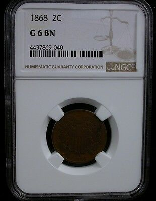 1868 2C Ngc G 6 Bn 1868 Two Cent Piece