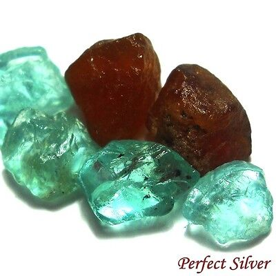 NICE ! 18.65 ct. 6 Pcs. Natural Spessartite & Blue Apatite Rough @ FREE SHIP