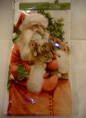 Marjolein Bastin--Santa Holding Bunny Rabbits Wine Bag!!! Canvas? Packaged! New!