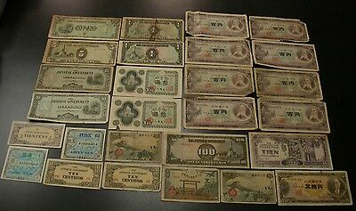 Japan Yen Military Curency Centavos Pesos Gulden Wwii Japan Paper Money