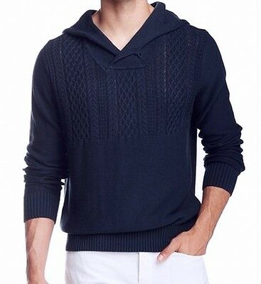 WRK NEW Blue Mens Size XL Cable Knit Shawl Collar Hooded Sweater $148 DEAL #882