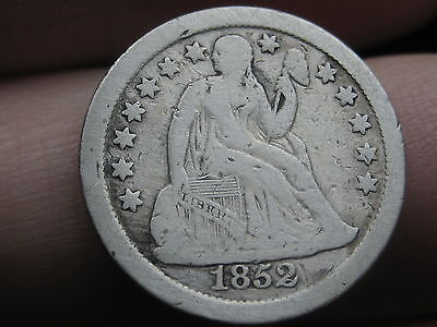 1852 O Seated Liberty Silver Dime- Fine/VF Details, Key Date