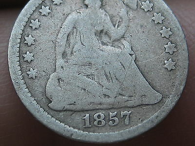 1857 P Seated Liberty Half Dime- VG Details