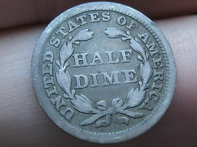 1858 P Seated Liberty Half Dime, VG/Fine Details, Counterstamped?