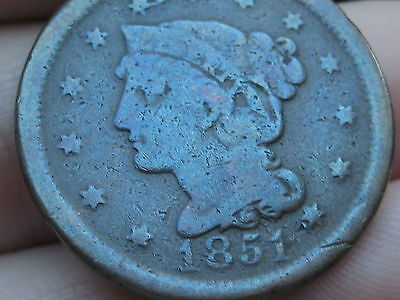 1851 Braided Hair Large Cent Penny- VG Details- Toned Blue