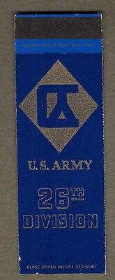 Ww2 U.s Army 26Th Division Flat Matchcover A359