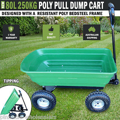 NEW 80L 250kg  Poly Pull Dump Cart Hand Trailer Wagon Lawn Wheelbarrow Tipping