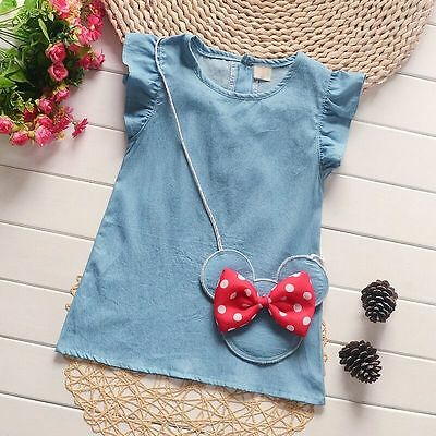 New  Baby Girls Mickey ornament Cute Casual Denim Dress Kids Summer Skirt