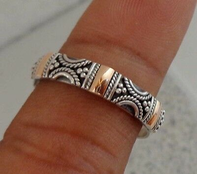 Size 8 (US) Solid Silver, 925 & Gold Bali Handcrafted Ring 38799