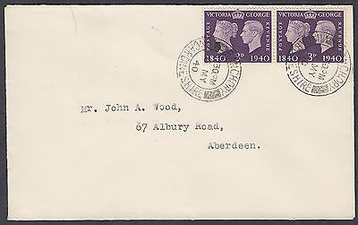 1940 Stamp Centenary 3d violet pair FDC; Banchory / Kincardineshire CDS