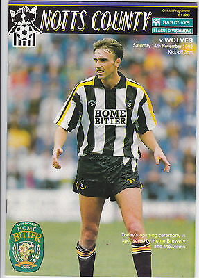 NOTTS COUNTY v WOLVES WOLVERHAMPTON WANDERERS Div One 1992 / 93 - November 14th