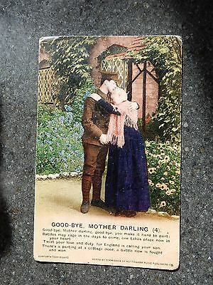Early Bamforth Song postcard  - Good-bye Mother Darling - British army soldier