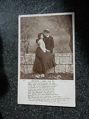 1912 Rotary Real Photo Song postcard- Because i love you - 2