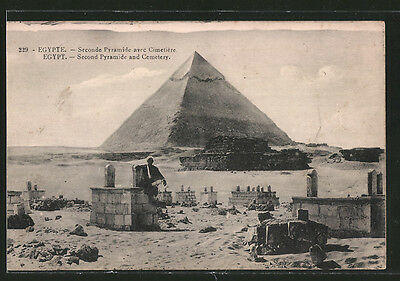 remarquable CPA Gizeh, Second Pyramide and Cemetery