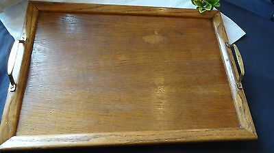 ANTIQUE ~VINTAGE WOODEN ~tea or drinks TRAY with brass handles