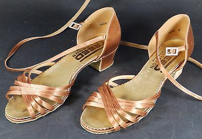 Freed Of London Brass Coloured Satin  Dance Shoes/Sandals Size 5