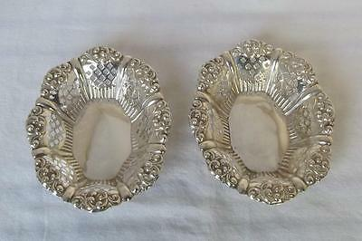 A Beautiful Antique Pair Of Solid Sterling Silver Edwardian Bon Bon Dishes 1903.