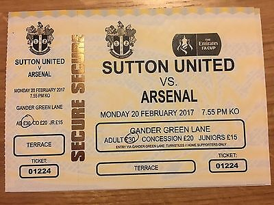 FA CUP 2017 SUTTON UNITED v ARSENAL.MINT COMPLETE MATCH TICKET.