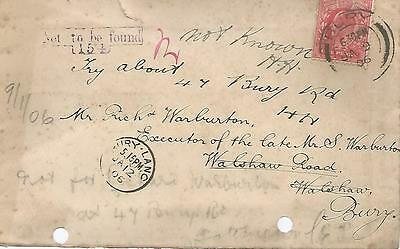 NOT TO BE FOUND CACHET ON KING EDWARD VII 1d RED 1906 COVER REF 347