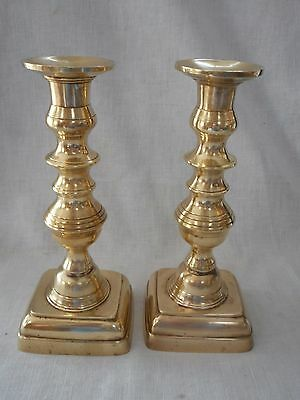 VTG. PAIR of HEAVY BRASS CANDLESTICKS- Stamped HISTORIC CHARLES