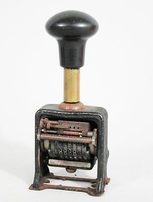 Antique Vintage Enm Unuversal Office Automatic Advancing Number Stamp