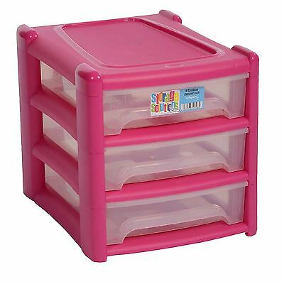 3 Tier Plastic Shallow Drawer Storage Unit Cabinet Organiser Bedroom Office Pink