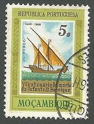 Mozambique Scott# 405, the Caravel, Death Prince Henry the Navigator, Used, 1960
