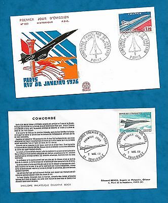 2 X French Concorde First Day Covers Maiden Flight & First Flight To Rio