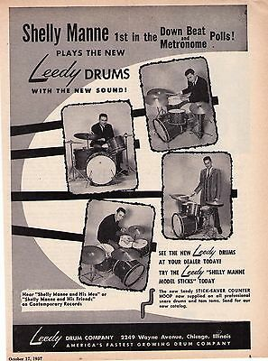 "1957 Leedy Drums Shelly Manne ""The New Sound"" Vintage Print Advertisement"