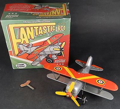 Vintage Boxed Fantastic & Co Wind Up Biplane Fighter For Collectors