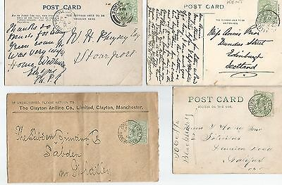 FIVE   KING EDWARD VII POSTCARDS/COVERS WITH ½d GREENS  REF 404