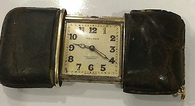 Antique Hallmark Silver Movado Chronometre Ermeto Travel Fob Clock Watch Purse
