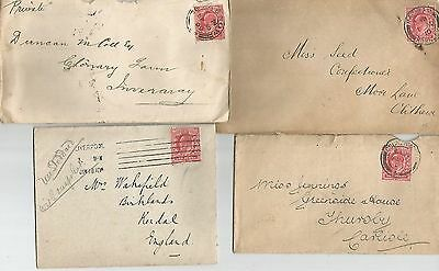 FIVE   KING EDWARD VII POSTCARDS/COVERS WITH 1d REDS   REF 401