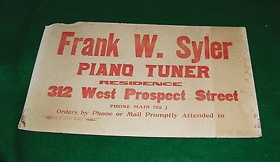 vintage PIANO TUNER advertising sign