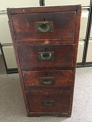 Antique 4 Drawer Chest Pedestal Brass Handles Very Old Oak Possibly