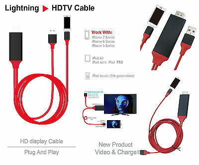 8 Pin Lightning HDMI HDTV Adapter Cable For For 5G 5S 5C SE 6 6S 7 8 Plus X XR