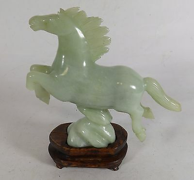 Carved Green Stone Horse on Wooden Stand