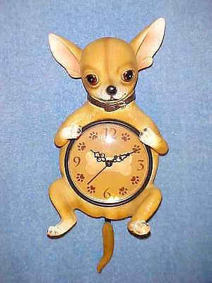 """13"""" CHIHUAHUA Wall Hanging Clock Animals Dogs Canine Decor"""