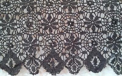 "antique black dark brown detailed Victorian era Lace trim 9.5"" x 79"""
