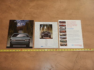 ORIGINAL 1996 LOT OF 3 CHEVROLET AUTOMOBILE DEALER SALES BROCHURE (lot 331)