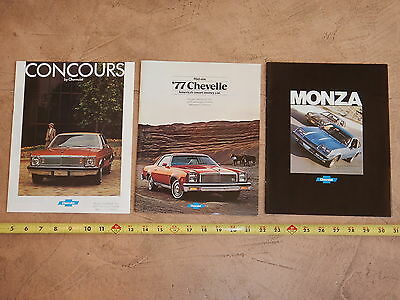 ORIGINAL 1977 LOT OF 3 CHEVROLET AUTOMOBILE DEALER SALES BROCHURE (lot 324)