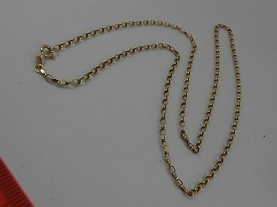 """9ct YELLOW GOLD OVAL FACETED BELCHER LINK NECK CHAIN NECKLACE. 24"""" BELCHER CHAIN"""