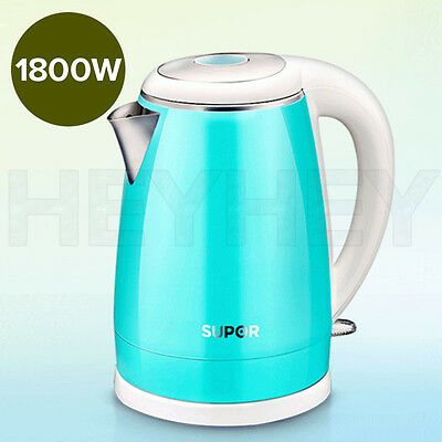 18/10 Stainless Steel Cordless 1.7L Kettle Jug Electric 360 Base 1800W BLUE