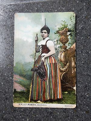 Early postcard- Traditionally dressed Lady - Madeira Portugal
