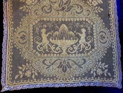 "ANTIQUE FRENCH ITALIAN LACE Table Runner figural cherub 38""x 16 1/2"""