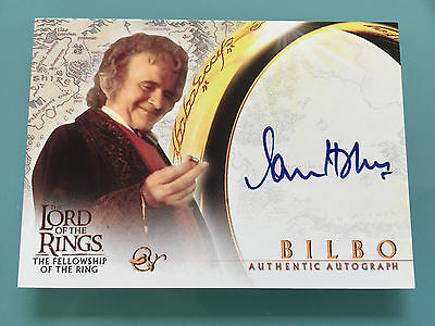 Lord of The Rings LOTR FOTR Ian Holm TOPPS BILBO signed Autograph Card UACC