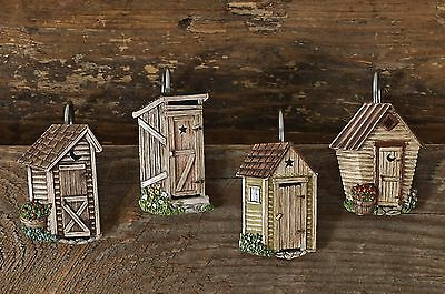 Linda Spivey Outhouse Shower Curtain Hooks by Park Designs, Hand Painted, Set/12