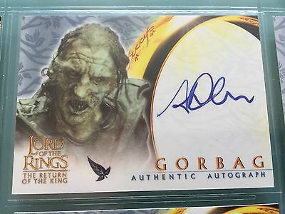 Lord of The Rings LOTR ROTK TOPPS STEPHEN URE GORBAG signed Autograph Card UACC